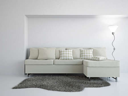Livingroom with sofa near the wall Stock Photo - 18648130
