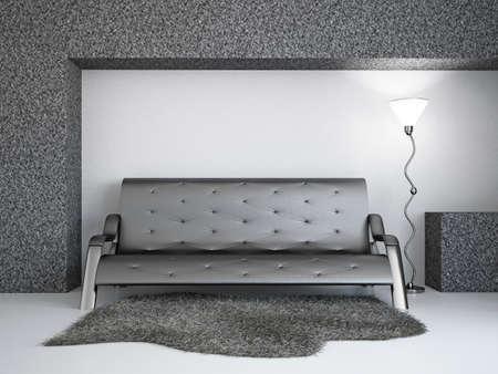 Livingroom with sofa near the wall Stock Photo - 18648133
