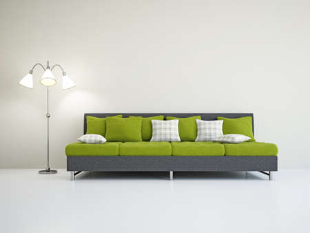 Livingroom with sofa near the wall Stock Photo - 18714177