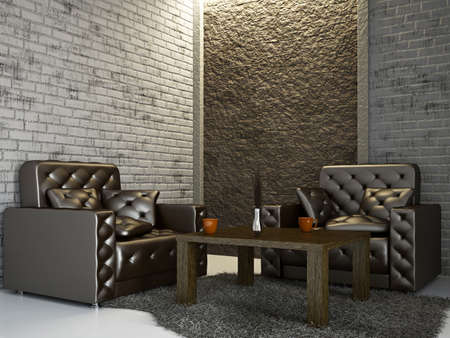 livingrooms: Livingroom with armchairs near the wall Stock Photo