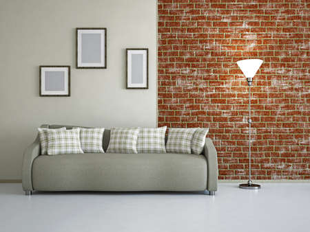 Livingroom with sofa near the wall Stock Photo - 18714565