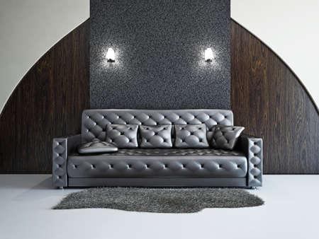 Livingroom with sofa near the wall Stock Photo - 18714566