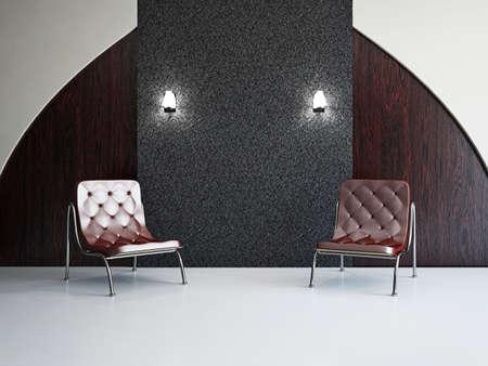 Interieur Design Scène Met Een Moderne Gele Stoel En Lamp Op Bleke ...