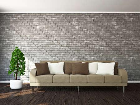 Livingroom with sofa near the wall Stock Photo - 18763133