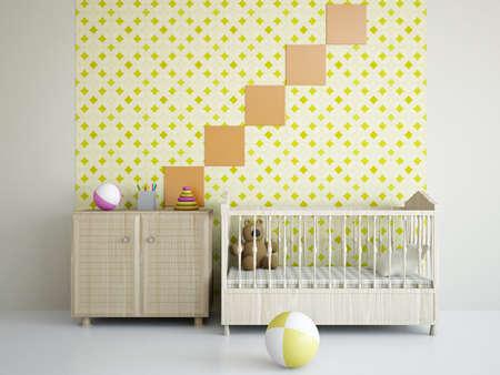 bebe cuna: Cuarto de ni�os con juguetes y la cama cerca de una pared Foto de archivo