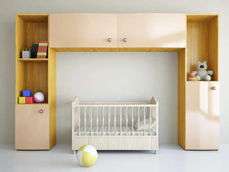 nursery room: Nursery with toys and the bed near a wall Stock Photo