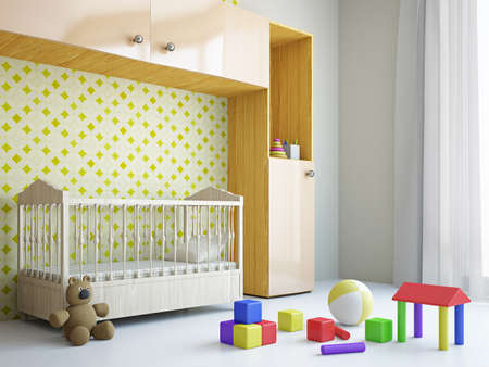 view of a comfortable bedroom: Nursery with toys and the bed near a wall Stock Photo