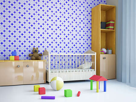 Nursery with toys and the bed near a wall Stock Photo - 18763132