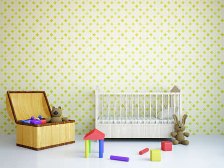 vivero: Cuarto de niños con los juguetes y la cama cerca de una pared Foto de archivo