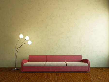 Livingroom with sofa near the wall Stock Photo - 18763139