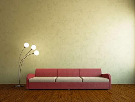 Livingroom with sofa near the wall Stock Photo - 18763139