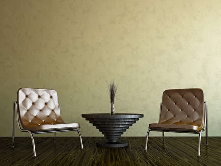 furniture detail: Livingroom with chairs near the wall Stock Photo