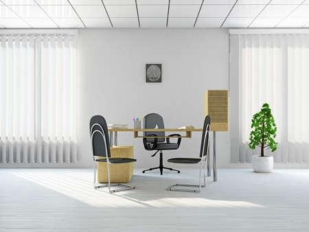 muebles de oficina: Recepci�n con una mesa cerca de una ventana Foto de archivo