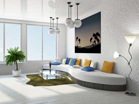 Livingroom with big sofa near the wall Stock Photo - 18902591