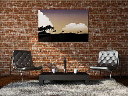 Livingroom with armchairs near the brick wall Stock Photo - 18902597