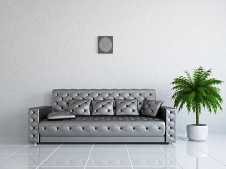 Livingroom with sofa near the wall Stock Photo - 18984091