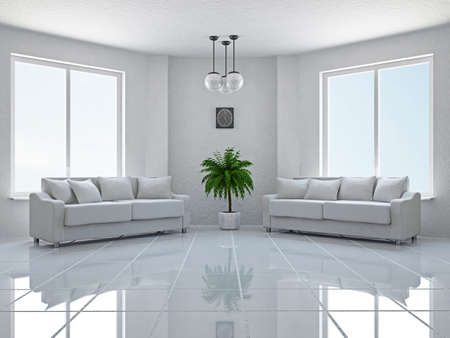 Livingroom with sofas near the windows Stock Photo - 18984098