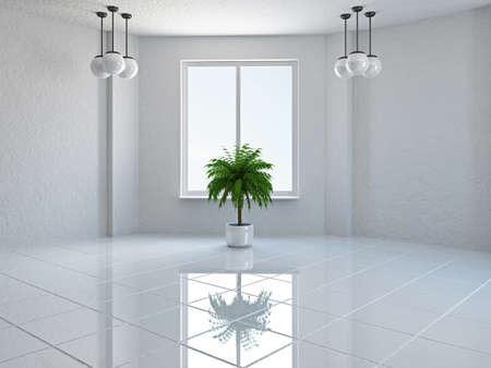 ceiling tile: The empty room with plant and window