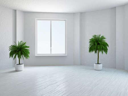 leeg bord: De lege ruimte met planten en raam Stockfoto
