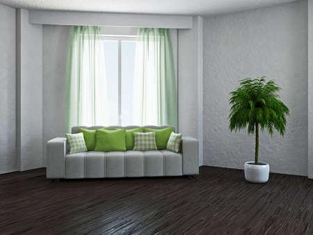 window curtains: Livingroom with sofa near the window