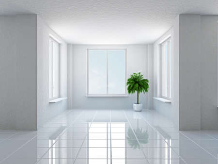 La sala vacía con la planta y ventanas