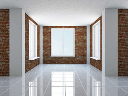 ceiling tile: The empty hall with brick wall and windows Stock Photo