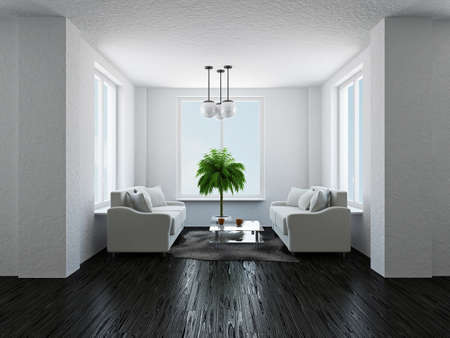 vestibulos: La sala con dos sof�s y plantas Foto de archivo