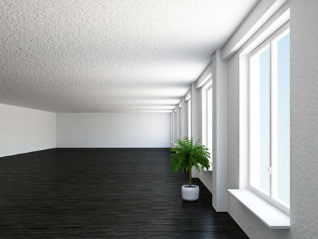 The empty big hall with  white wall Stock Photo - 19056668