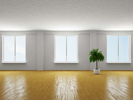 The empty big hall with  white wall Stock Photo - 19056675