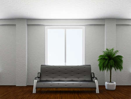 Livingroom with sofa near the window Stock Photo - 19056682