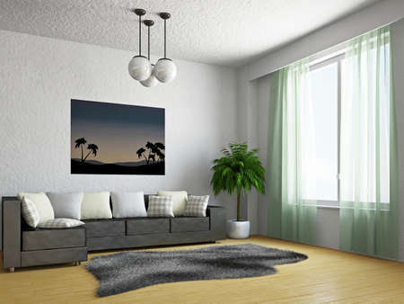 3d interior picture: Livingroom with sofa near the window