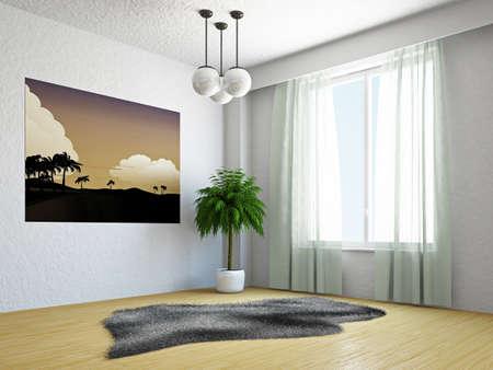 Livingroom with palm near the window photo