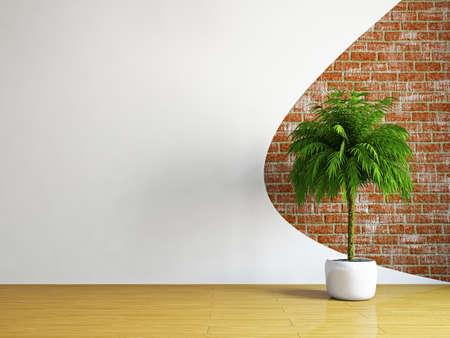 De lege ruimte met planten in de buurt van de muur