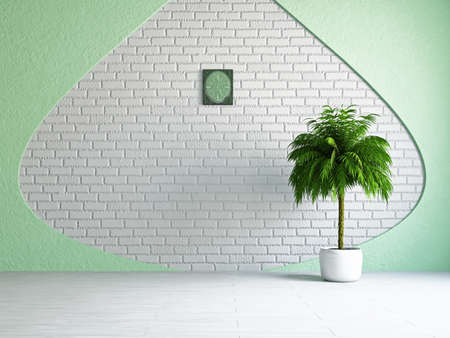 The empty room with plant near the wall Stock Photo - 19160912
