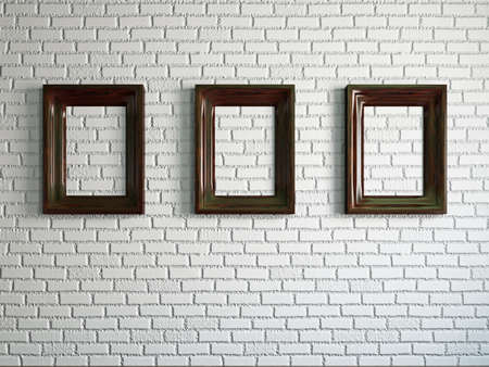 Three empty wooden frames on the brick wall Stock Photo - 19238191