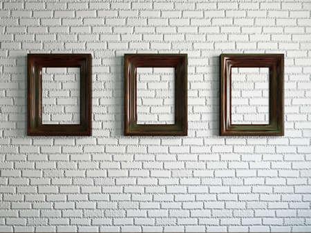 Three empty wooden frames on the brick wall Stock Photo - 19238191