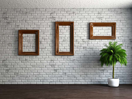 Three empty wooden frames on the brick wall Stock Photo