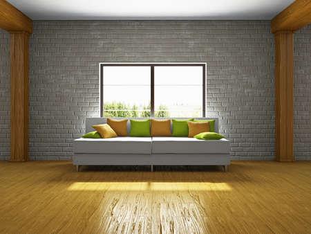 Livingroom with sofa near the window Stock Photo - 19238193