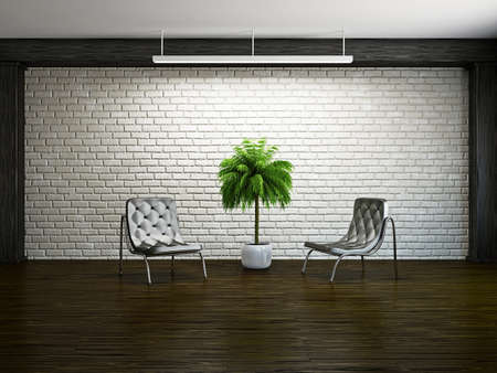 Old room with armchairs near the brick wall photo