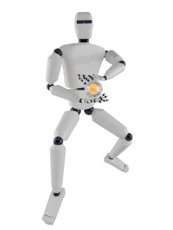 The metal robot with a fireball in hands photo