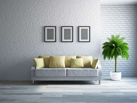Livingroom with sofa near the wall Stock Photo - 19322783