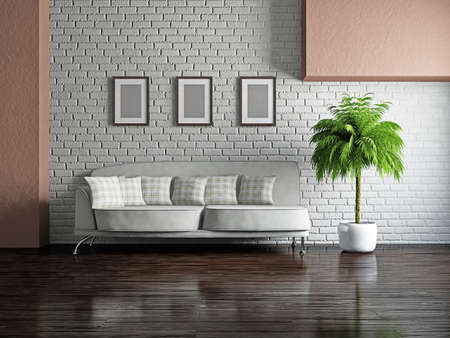 Livingroom with sofa near the wall Stock Photo - 19322785