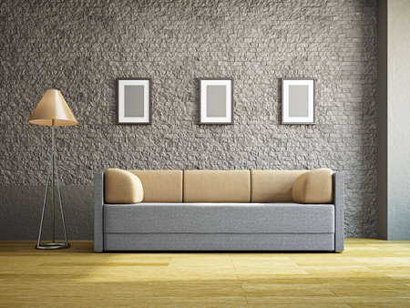 decor residential: Livingroom with sofa near the wall
