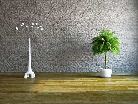 The empty room with plant and lamp near the wall Stock Photo - 19322790
