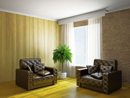 Room with armchairs near the window Stock Photo - 19322794
