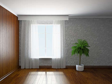 lining: The empty room with plant near the window