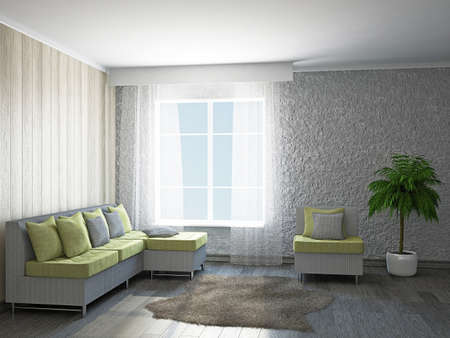 Room with sofa and the armchair near the window photo