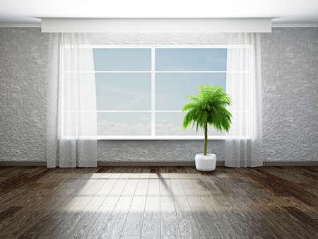 El cuarto vacío con la planta cerca de la ventana