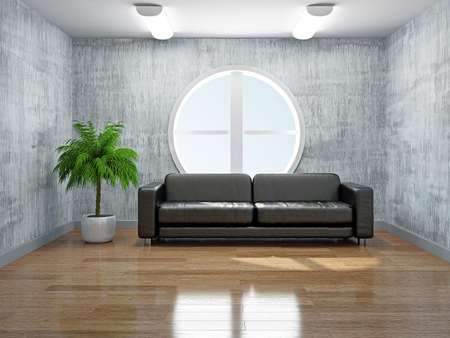 Old room with sofa near the window Stock Photo - 19475495