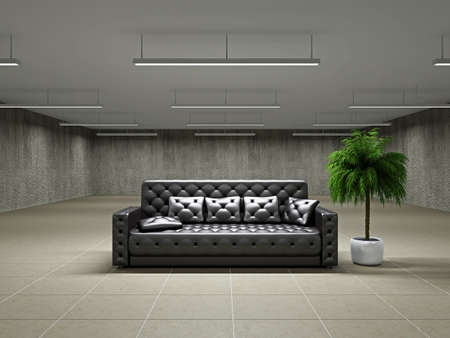 ceiling texture: The empty big hall with  leather sofa